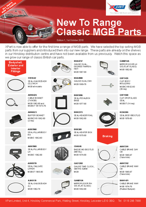 New To Range Classic MGB Parts 1